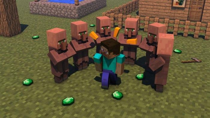 minecraft-steve-villagers